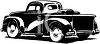 Black and White Vintage Pick Up with Tires in the Bed clipart