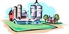 Large Farm with Grain Silos and Barns clipart