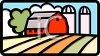 Red Barn and Grain Silos in a Field clipart