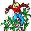 Pumpkin Headed Scarecrow Hanging in a Field of Corn clipart