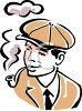 Vintage Man Smoking a Pipe clipart