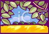 View of a Field Through an Arch of Grape Leaves clipart