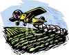 Crop Duster Spraying a Crop clipart