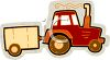 Tractor Pulling a Small Trailer clipart