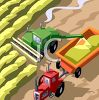 Aeriel View of Farming Machines Harvesting Wheat clipart