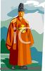 Asian King Wearing Traditional Garments clipart