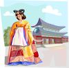 Asian Woman Wearing Traditonal Clothing clipart