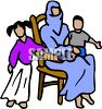 Islamic Woman and Her Children clipart