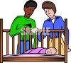 Innerracial Couple and Their Newborn Baby clipart