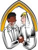 Caucasian Woman Marrying a Black Man clipart