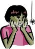 African American Girl Afraid of a Spider clipart