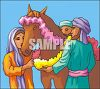 Arabian Family Decorating Their Horse clipart
