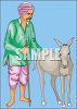 Arab Man with a Donkey clipart