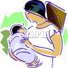 Chinese Mother and Baby clipart