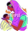 Middle Eastern Mother and Baby clipart