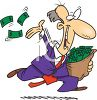 Crazy Cartoon of a Man Throwing His Money Away Cliche clipart
