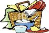Picnic Hamper Full of a Chicken Dinner clipart