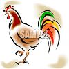 Rooster with Colored Tail Feathers clipart