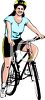 Woman Riding a Bicycle Wearing a Bike Helmet clipart