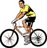 African American Man Riding a Racing Bike clipart