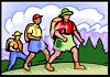 People Hiking in the Mountains clipart