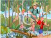 Friends Hiking in the Woods clipart