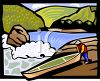 Man Putting a Canoe Into a River clipart