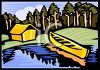 Cabin and Canoe by a Lake in the Woods clipart