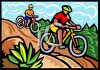 People Riding Mountain Bikes Down a Hill clipart