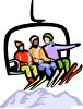 Skiers on a Ski Lift clipart