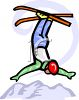 Man Doing a Trick on Skis clipart