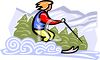 Woman Cross Country Skiing clipart