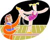 Gymnastics Coach Assisting a Gymnast on the Balance Beam clipart