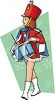 Girl Drummer in a Marching clipart