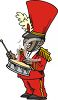 African American Guy Playing the Drum in a Marching Band clipart