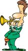 Cartoon of a Guy Playing a Trumpet clipart