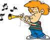 Cartoon of a Redheaded Boy Playing a Flute clipart
