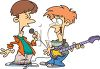 Cartoon of the Teen Singer and Guitar Player in a Garage Band clipart