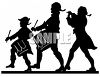 Silhouette of Patriotic Fife and Drum Musicians clipart