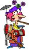One Woman Band Cartoon of a Woman Playing a Bunch of Instruments clipart