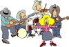 Cartoon of a Cowboy Band with a Female Country Singer clipart