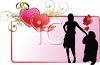 Silhouette of a Man Proposing on One Knee in a Heart Decorated Frame clipart