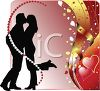 Silhouette of a Kissing Couple with Hearts and Ribbons clipart