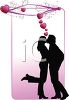 Silhouette of a Couple Kissing with Hearts clipart