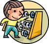 Boy using an abacus to count and do math clipart