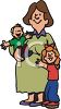 Pregnant Single Mother and Her Kids clipart
