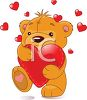 Teddy Holding a Hugging a Heart clipart