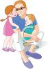 Red Haired Father and His Daughter and Son  clipart