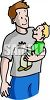 Single Dad Holding His Son clipart