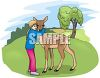 Little Girl Hugging a Fawn in a Field clipart